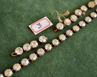 No.3 1940's, Vintage Rhinestone strips (3 in total) of 7.4 mm and 8mm stones in iridescent sheen