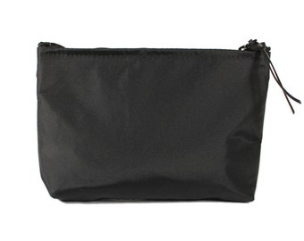 "7"" Black Nylon fabric cosmetic bag/pouch"