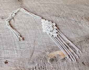 white enamel chain tassel necklace . 60s 70s long chain necklace . filigree daisy pendant with long chains, boho double chain necklace