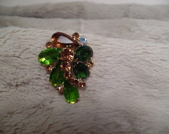 1950's Brooch with Autumn Colors-Unsigned Beauty