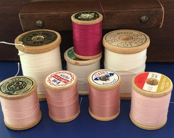 Vintage Thread lot of  wooden spools in pinks and white vintage thread, wooden spools for feminine decor.