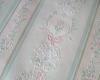 French Wallpaper Duck-egg Blue and Pink Ribbons Bows Floral 1960s 6/7 metres