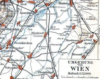 Vienna Austria Map 1906 Antique Steel Engraving Vintage European City Cartography To Frame