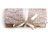 Champagne Sequin Clutch // Blush Nude bridesmaid clutch // Sparkle glitter envelope slim wedding bag // Custom colors