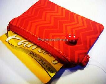 Red and Orange chevron card wallet, business card holder, small coin purse, id case, id1370311, travel organizer, portefeuille, portmonaie