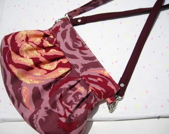Roses plum Wristlet shoulder bag, pleated, evening bag, pocket,gift for her,cotton,wristlet