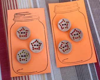 Stitched Star Wood Buttons - set of three with stitched star design in various colors, 20mm, light, great for knitwear