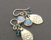 Lotus Pond, London Blue Topaz, Rainbow Moonstone, Fine Silver, Sterling Silver Charm Gemstone Earrings, erinelizabeth