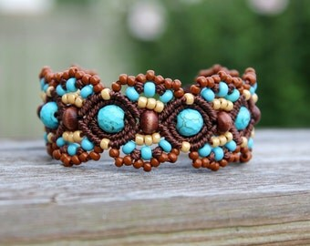 Micro-Macrame Beaded Cuff Bracelet - Tan, Brown, Turquoise