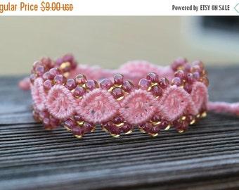 SALE Micro-Macrame Beaded Bracelet - Pink