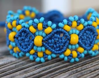 REDUCED Micro-Macrame Beaded Cuff Bracelet - Blue Sunshine