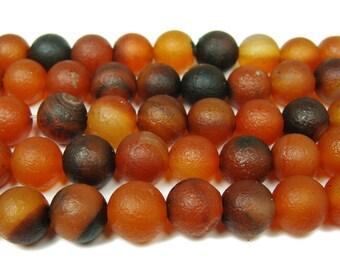 Antiqued Dream Agate Round Gemstone Beads