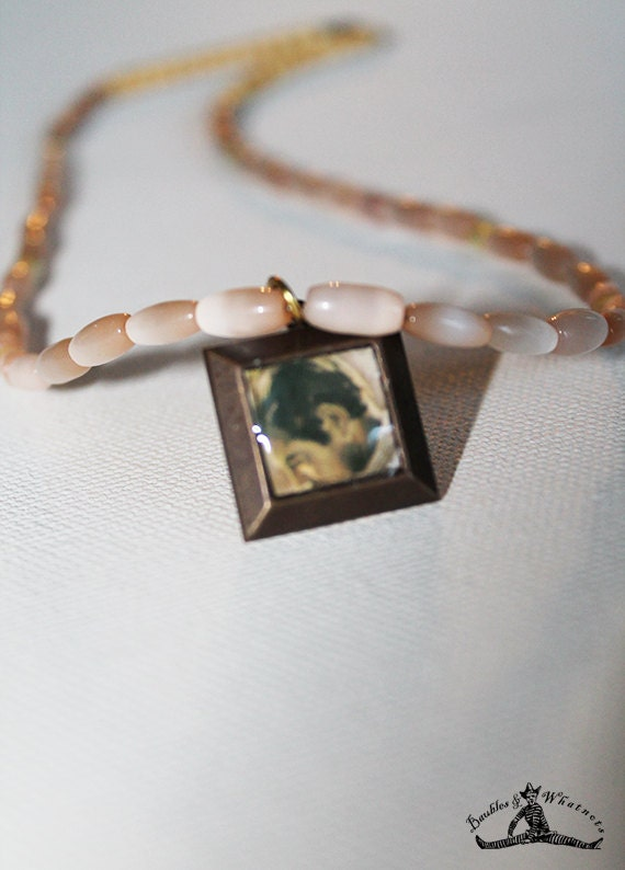 Beaded Vintage Inspired Necklace with Clark Gable Charm - Cream Beaded Necklace - OOAK