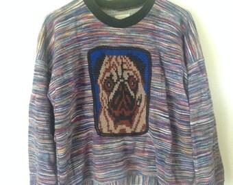 Sweatshirt organic cotton with knit pug dog application, super soft cotton sweatshirt, Medium pre-shrunk oversize with cotton knit pug patch