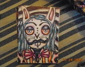 Original Artist Trading Card Alien Hybrid Bunny Side Show Psychedelic Colored Pencil and Pen Drawing