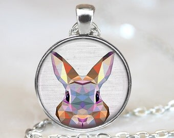 Rabbit Pendant, Geometric Rabbit Necklace, Rabbit Art Jewelry, Polygon Bunny Pendant, Rabbit Jewelry, Rabbit Art Pendant, Bronze Silver, 033
