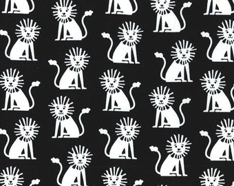 Half yard - Mini Lions in Black - Michael Miller cotton quilt fabric