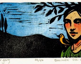 Framed Color Linocut Print Miniature Portrait Belinda DelPesco
