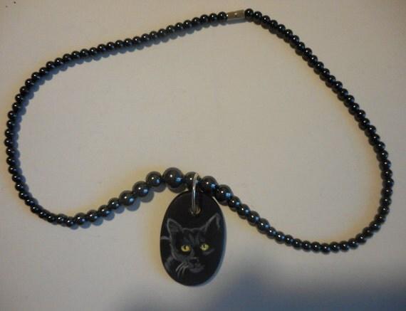 Black Cat Bombay Beaded Necklace Painted Ceramic Pendant