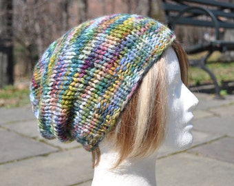 Multicolored Knit Hat - Wool Ribbed Slouchy Knit Hat - Women's hat Baby Alpaca - Adult Hat