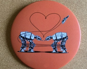 Orange AT-AT Love 3.5 Inch Giant Magnet - Star Wars Magnet, Fridge Magnet, Refrigerator Magnets, Star Wars Gift, Star Wars Party