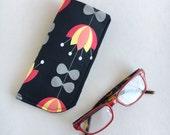Sunglass, Eyeglass Case, Reading Glasses, Padded, Black, Folk Floral
