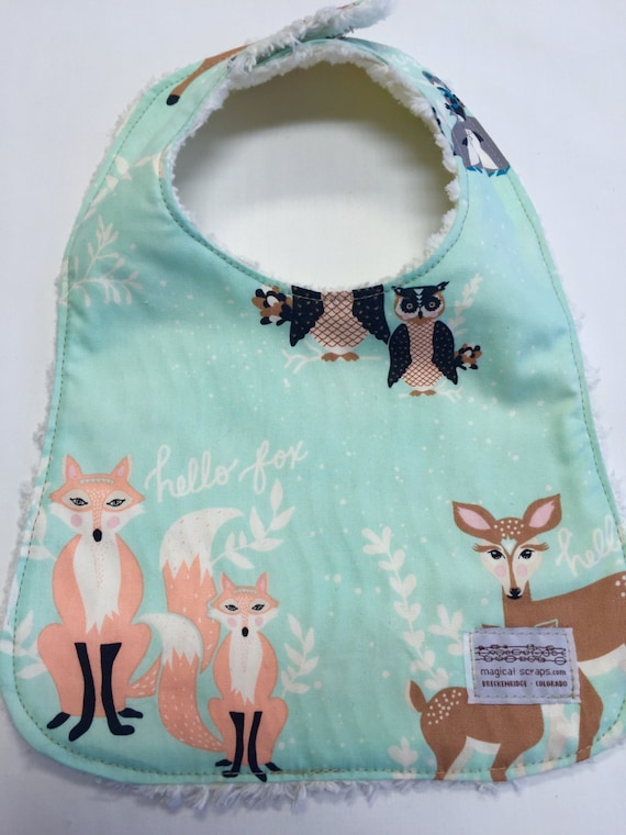 Gender neutral baby bib in mint woodland animal fabric baby for Unisex baby fabric
