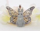 Winged Gray Bunny Rabbit Necklace Angelika - Winged Bunny Pendant - Bunny Rabbit Jewelry - Bunny Necklace