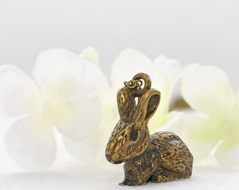 Bronze Rabbit Pendant Bunny Necklace Jarvis - Rabbit Necklace - Bunny Rabbit Inspired - Bunny Jewelry