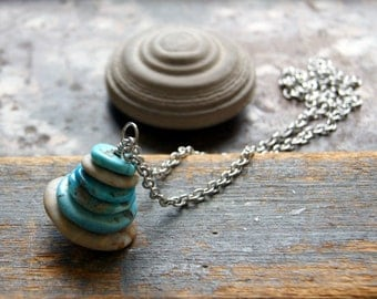 Turquoise and Beach Stone Cairn Necklace - FREE GIFT WRAP