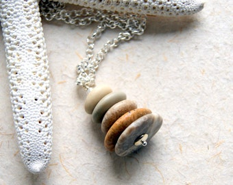 Beach Stone Cairn Necklace - stacked stones - Cairn Jewelry - Beach Pebble Necklace  - Zen - Spiritual - bohemian jewelry - boho chic