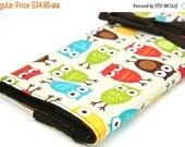 SALE large knitting needle case organizer - urban owls - multi 30 brown pockets for all sizes or paint brushes
