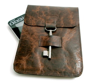 SALE Leather iPad Mini Case - Leather iPad E-reader Sleeve - Brown Leather Kindle Case with Antique Key Closure