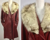 Vintage Oxblood Leather Coat with Fur Collar - Burgundy Red Jacket - Soft Fox Fur in Off-White Brown - Tie Belt - Flexible Size Med Large XL