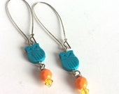 Handmade Teal Turquoise Owl Earrings - Bright Orange Faceted Glass Vintage Beads, Lemon Yellow Swarovski Crystals - Long Silver Kidney Wires