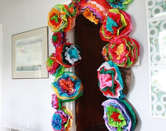Mexican Tissue Pom Poms Paper Flowers Garland - Set of 10 - Nursery Decor Baby Shower Wedding Reception