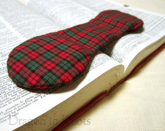 Plaid Cookbook Holder - Book Weight - Red and Green - Fabric and Steel Weighted Bookmark - Kitchen Accessory