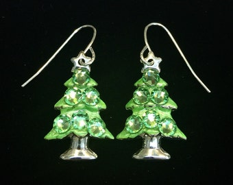 Sparkling Lime Green Crystal Christmas Tree Holiday Earrings