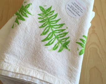 Green Fern Leaves Kitchen Towel - Plant Towel - Fern Soft Cotton Flour Sack Towel - Hand Block Printed