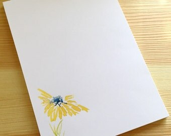 Floral Notepad Stationery - Watercolor Flower Notepad - Personalized or Blank Handmade Yellow Daisy Notepad - 40 Sheet Notepad