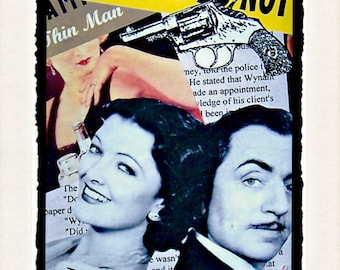 THE THIN MAN Nick and Nora Charles Collage Photo Notecard