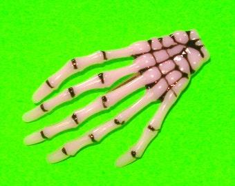 Old Bones Skeleton Hand Alligator Hair Clip - Pink