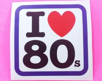 I Heart 80s Retro Love Kitsch Pink Skull Vinyl Sticker