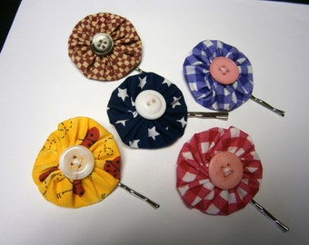 YoYo Pinwheel Fabric Bobby Pins in Your Choice, Bobbi Pins, Hair Accessories, Willow Glass, OOAK