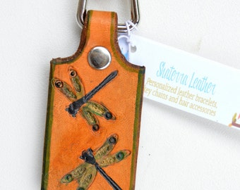 Key Fob with Snap and Dragonflies Leather