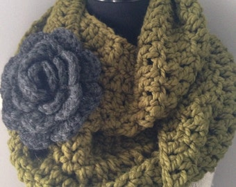 Olive Green Circle Scarf Chunky Cowl Neck Warmer Infinity Endless Loop with Statement Flower Brooch