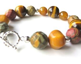 Ocean Jasper Beaded Bracelet, Tiger Eye Gemstone Bracelet, Brown Tones Boho Bracelet, Multi Gemstone Fashion Bracelet with Toggle Clasp
