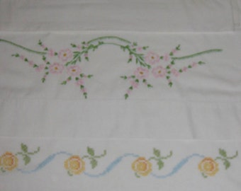Vintage Pillowcases, Four Mismatched Pillowslips, Hand Embroidery, Handiwork, Needlework, Flowers, Floral, Rose