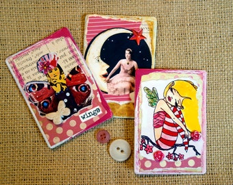 Fairy Wings Moon Whimsical Refrigerator Magnets Mixed Media Recycled Upcycled Vintage Original Collage Artwork Handcrafted one of a kind