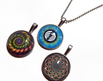 Lot of 3 - Colorful Fractal, BassNectar Eye, Flower of Life Pendants 1 Inch Photo Pendant with 24 inch Ball Necklace